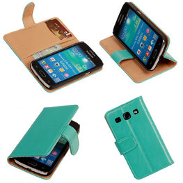 PU Leder Turquoise Hoesje voor Samsung Galaxy Core Plus Book/Wallet Case/Cover