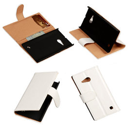 PU Leder Wit Hoesje voor Nokia Lumia 735 Book/Wallet Case/Cover