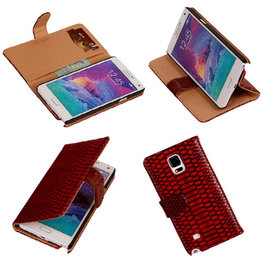 BC Slang Rood Hoesje voor Samsung Galaxy Note 4 Bookcase Cover