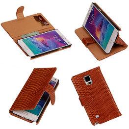 BC Slang Bruin Hoesje voor Samsung Galaxy Note 4 Bookcase Cover