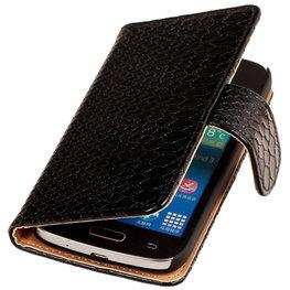 BC Slang Zwart Hoesje voor Samsung Galaxy Young 2 Bookcase Cover