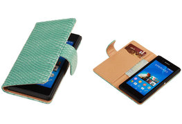 """BC """"Slang"""" Turquoise Hoesje voor Sony Xperia E3 Bookcase Wallet Cover"""