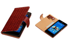 """BC """"Slang"""" Rood Hoesje voor Sony Xperia E3 Bookcase Wallet Cover"""