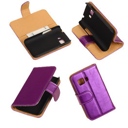 PU Leder Lila Hoesje voor Samsung Galaxy Young 2 Book/Wallet Case/Cover