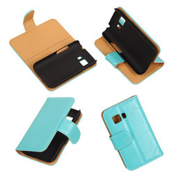 PU Leder Turquoise Hoesje voor Samsung Galaxy Young 2 Book/Wallet Case/Cover