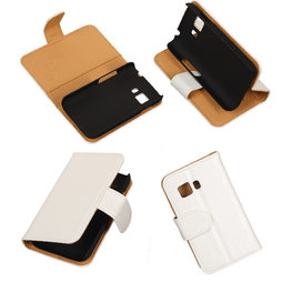 PU Leder Wit Hoesje voor Samsung Galaxy Young 2 Book/Wallet Case/Cover