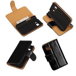 PU Leder Zwart Hoesje voor Samsung Galaxy Young 2 Book/Wallet Case/Cover