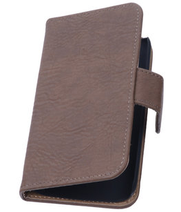 Bruin Hout Hoesje voor Apple iPhone 4 4s TV Stand Cover Book/Wallet Case