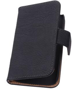 Zwart Hout Hoesje voor Apple iPhone 5 5s TV Stand Cover Book/Wallet Case