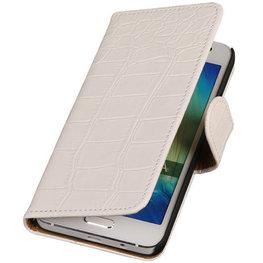 Wit Croco Hoesje voor Motorola Nexus 6 Book Wallet Case