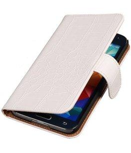 Croco Wit Hoesje voor Samsung Galaxy S5 Mini Book/Wallet Case