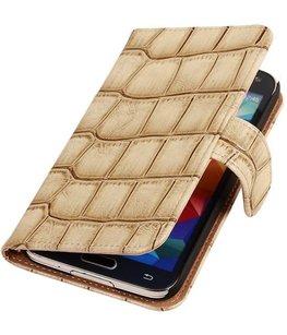 Croco Beige Hoesje voor Samsung Galaxy S5 Mini Book/Wallet Case