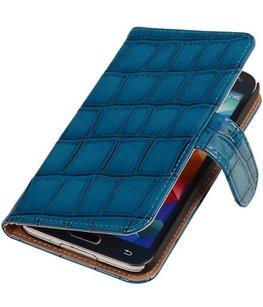 Croco Blauw Hoesje voor Samsung Galaxy S5 Mini Book/Wallet Case