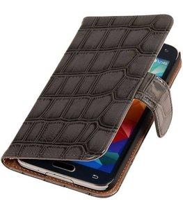 Croco Grijs Hoesje voor Samsung Galaxy S5 Mini Book/Wallet Case