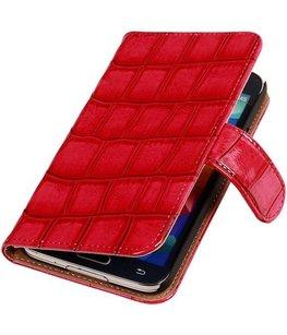 Croco Roze Hoesje voor Samsung Galaxy S5 Mini Book/Wallet Case