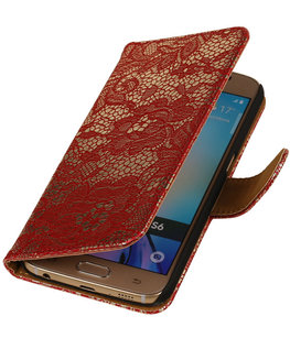 Rood Lace / Kant Design Bookcover Hoesje voor Samsung Galaxy S6