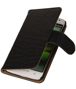 Hoesje voor LG G2 Mini Crocodile Booktype Wallet Zwart