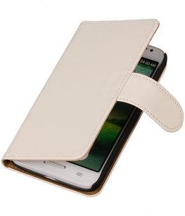 Hoesje voor Motorola Moto X Effen Booktype Wallet Wit