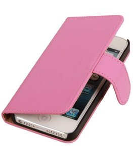 Roze Hoesje voor Apple iPhone 4 4s Book Wallet Case
