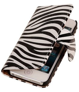 Zebra Hoesje voor Apple iPhone 4 4s Book Wallet Case