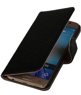 Echt Leer Bookcase Zwart - Hoesje voor Samsung Galaxy A5 2015