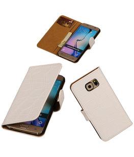 Hoesje voor Samsung Galaxy Grand Max Croco Booktype Wallet Wit