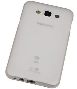 """Hoesje voor Samsung Galaxy E5 TPU Transparant Wit â"""" Back Case Bumper Hoes Cover"""