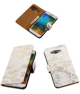 Wit Lace / Kant Design Bookcover Hoesje voor Samsung Galaxy E5