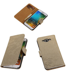 Goud Lace / Kant Design Bookcover Hoesje voor Samsung Galaxy E5