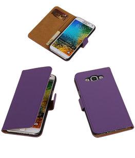 Paars Effen Bookcover Hoesje voor Samsung Galaxy E5