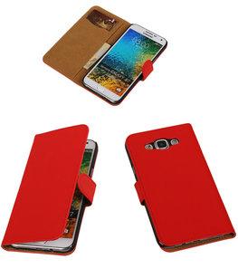 Rood Effen Bookcover Hoesje voor Samsung Galaxy E5
