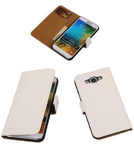 Wit Effen Bookcover Hoesje voor Samsung Galaxy E5
