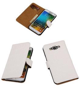 Wit Krokodil Bookcover Hoesje voor Samsung Galaxy E5