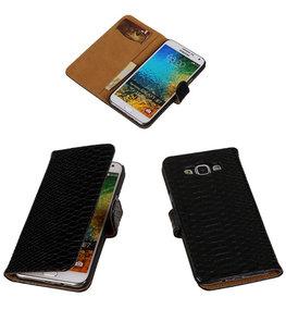 Zwart Snake / Slang Bookcover Hoesje voor Samsung Galaxy E5