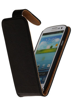 BestCases Luxe Kreukelleer Flipcase Hoesje voor Samsung Galaxy Express Zwart