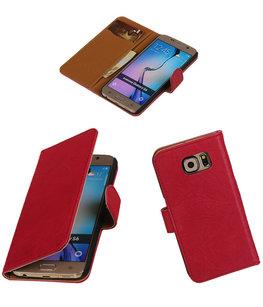 Echt Leer Bookcase Roze - Hoesje voor Samsung Galaxy E7