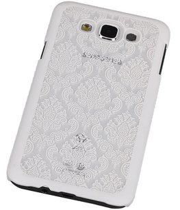 Hoesje voor Samsung Galaxy E7 - Brocant Hardcase Wit