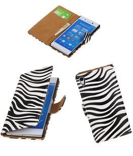 Hoesje voor Sony Xperia Z4/Z3 Plus Zebra Booktype Wallet