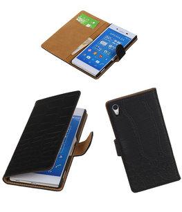 Hoesje voor Sony Xperia Z4/Z3 Plus Croco Booktype Wallet Zwart