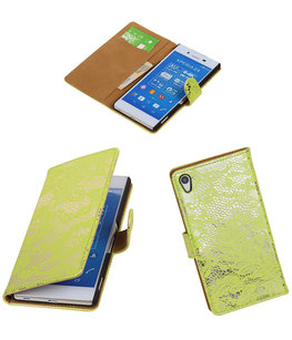 Hoesje voor Sony Xperia Z4/Z3 Plus Lace Kant Booktype Wallet Groen