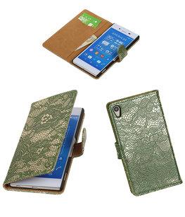 Hoesje voor Sony Xperia Z4/Z3 Plus Lace Kant Booktype Wallet Donker Groen