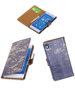 Hoesje voor Sony Xperia Z4/Z3 Plus Lace Kant Booktype Wallet Blauw