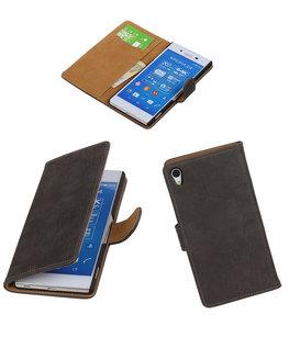 Hoesje voor Sony Xperia Z4/Z3 Plus Bark Hout Booktype Wallet Grijs