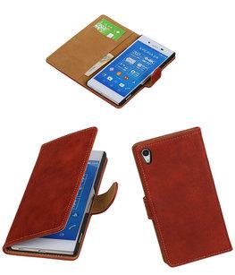 Hoesje voor Sony Xperia Z4/Z3 Plus Bark Hout Booktype Wallet Rood
