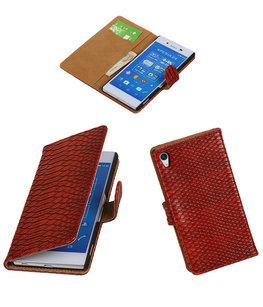 Hoesje voor Sony Xperia Z4/Z3 Plus Slang Booktype Wallet Rood