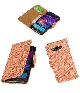 Hoesje voor Samsung Galaxy Grand Max Snake Booktype Wallet Roze