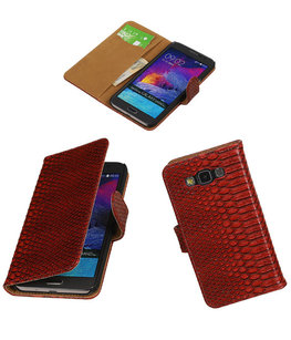 Hoesje voor Samsung Galaxy Grand Max Snake Booktype Wallet Rood