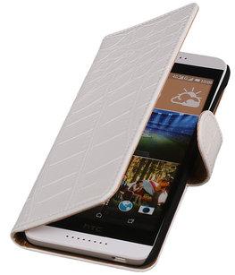 Hoesje voor HTC Desire 320 Croco Booktype Wallet Wit