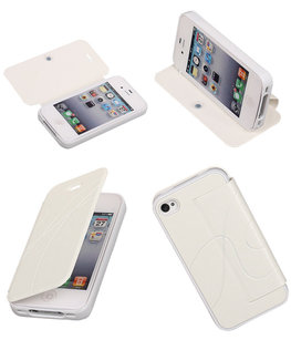 Bestcases Wit TPU Booktype Motief Hoesje voor Apple iPhone 4/4S