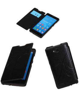 Bestcases Zwart TPU Booktype Motief Hoesje voor Huawei Honor 3C